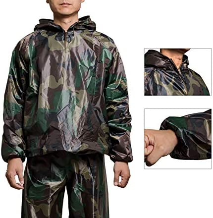 GOLD XIONG PADISHAH Sweat Sauna Suit for Men Women Zipper Anti-Rip Hoodie Weight Loss Workout Suits Camouflage and Black 2