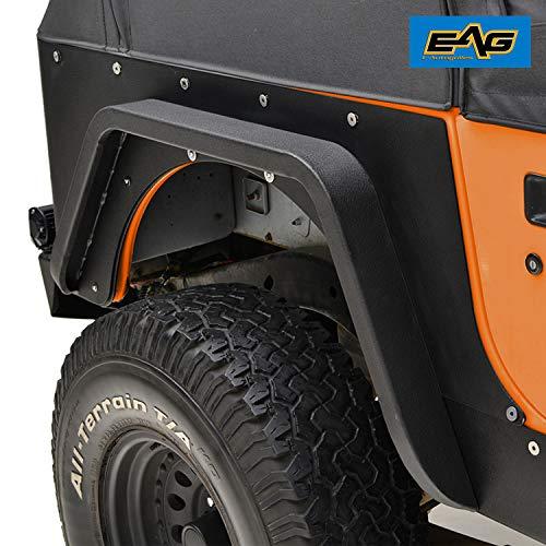 EAG Rear Fender Flare Armor Steel Fit for 87-96 Jeep Wrangler - Tube Fenders Jeep Yj For