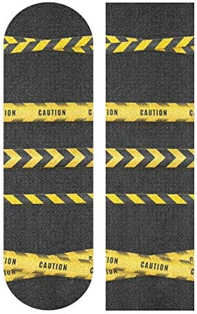 MNSRUU gelbe Streifen Warnbänder Warnbänder Skateboard Griptape Scooter Deck Sandpapier 22,9 x 83,8 cm