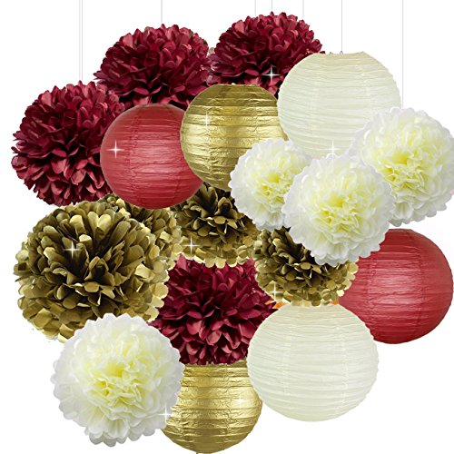 mas Xmas Decorations 18pcs Burgundy Cream Gold Birthday Decorations Tissue Paper Pom Pom and Paper Lanterns Photo Backdrop Wedding/Bachelorette Party Decorations ()