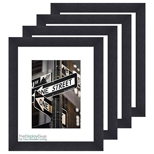 "TheDisplayGuys Solid Black Wood 16x20 Picture Frames w. Tempered Glass matted to 11x14 for Wall Hanging (1"" Wide Border) Set of 4"