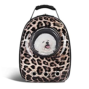 SRI Pet Portable Carrier Space Capsule Backpack, Pet Bubble Traveler Knapsack Multiple Air Vents Waterproof Lightweight Handbag for Cats Small Dogs & Petite Animals (Leopard)