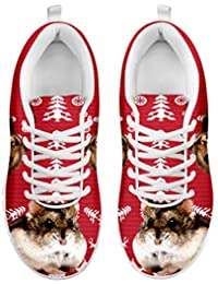Women's Sneakers-Campbell'S Dwarf Hamster On Red Print Casual Running Shoes