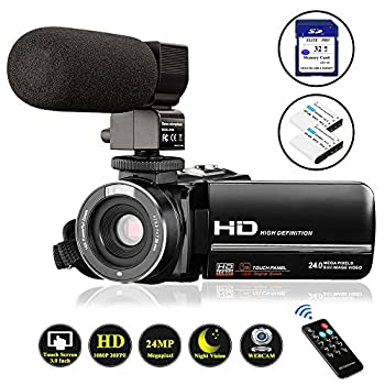 Image of Video Camera Camcorder FHD 1080P 24.0MP Digital Camera YouTube Vlogging Camera 3.0 inch IPS Touch Screen IR Night Vision 16X Digital Zoom with External Microphone, Remote Control and 32GB Memory Card Camcorders