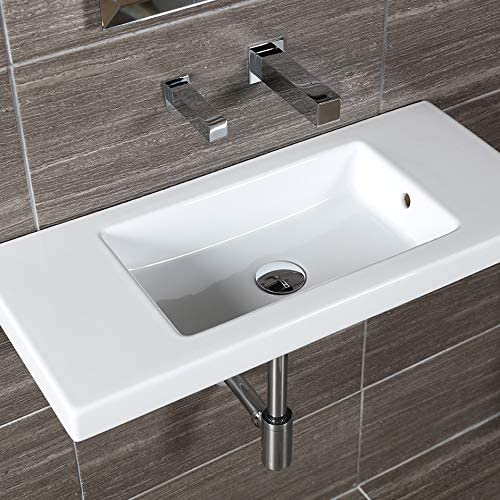 Wall Mount Vanity Top Or Self Rimming Porcelain Bathroom Sink With An Overflow No Faucet Holes W 31 5 8 D 13 7 8 H 5 3 4 White Amazon Com