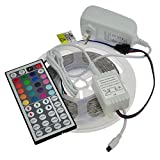 led lights changing color strip - LEDwholesalers 12-Volt 16.4-ft RGB Color-Changing Kit with Controller and IR Remote, Power Supply, and LED Strip in White PCB, 2034RGB-R2+3369+3208