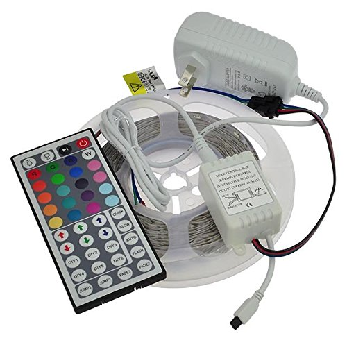 LEDwholesalers 12-Volt 16.4-ft RGB Color-Changing Kit with Controller and IR Remote, Power Supply, and LED Strip in White PCB, 2034RGB-R2+3369+3208 by LEDwholesalers