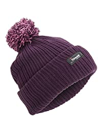 Childrens Girls Thinsulate Thermal Winter Beanie Hat With Pom Pom (3M 40g) (One Size) (Purple)