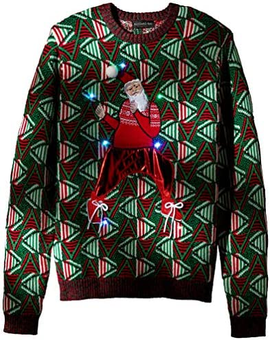 Blizzard Bay Men's Ugly Christmas Sweater Light UP, Red/Green, X-Large