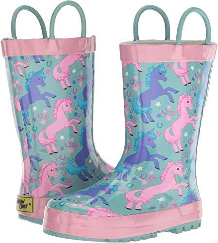 Western Chief Girls' Waterproof Printed Rain Boot, Lucky Unicorn 9/10 Medium US Toddler