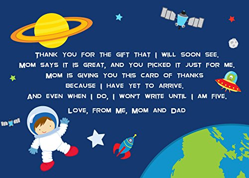 30 Thank You Cards Space Astronaut Boy Baby Shower Personalized Cards Photo Paper