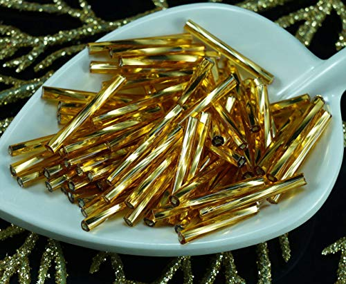 (80pcs x 20mm Extra Long Gold Silver Lined Twisted Round Czech Glass Bugle Beads PRECIOSA Tubes)
