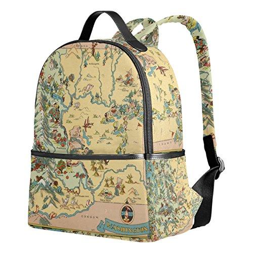 (Vintage Washington State Map Unisex Unisex Canvas Satchel Casual Daypack Backpack)