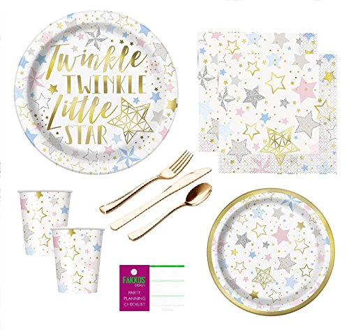 Gender Neutral Baby Shower Birthday Party Supplies Twinkle Twinkle Little Star Large And Small Plates, Napkins, Cups And Premium Quality Gold Shiny Plasticware Serves 16 Guests (Silver Pink Star)