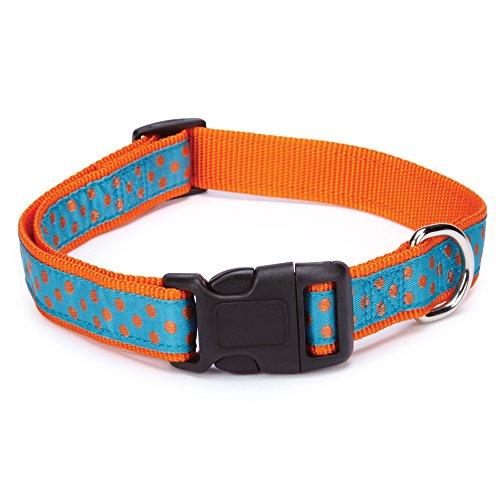 East Side Collection Nylon Polka Dot Dog Collar, 14-20-Inch, Orange