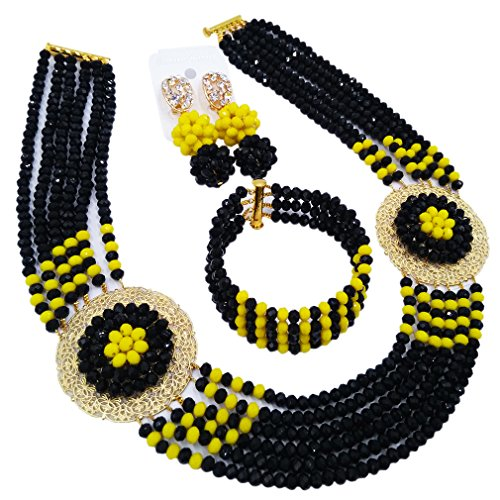 Multi Necklace Jade Color (aczuv Nigerian Beads Jewelry Set African Necklaces for Women Crystal Bridal Wedding Jewelry Sets (Black Opaque Yellow))