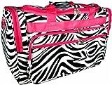Hot Pink Trim Black White Zebra Duffle Dance Cheer Gym Bag Large 22″, Bags Central