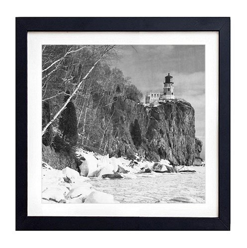 Split Pictures Lighthouse Rock (Split Rock Lighthouse F1 - Art Print Black Wood Framed Wall Art Picture For Home Decoration - Black and White 14