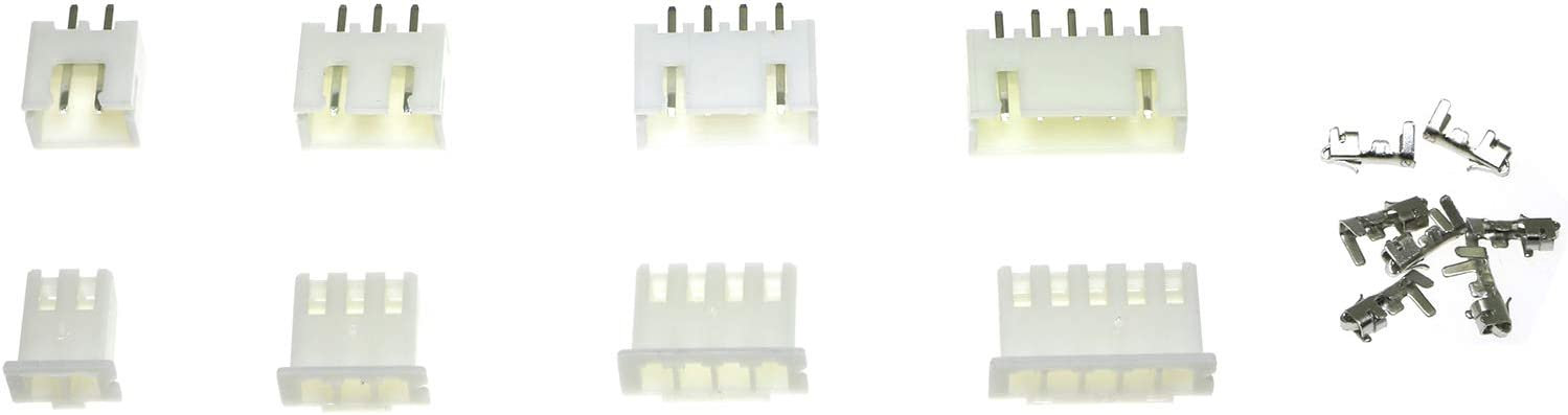 RuiLing 230-Pack 2.54mm JST-XH 2//3//4//5 Pin JST Connector Male//Female Wire Cable Header Housing Adaptor Terminal Kit