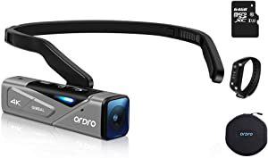 Ordro EP7 Vlog 4K 60FPS Video Camera Wearable Camcorder Hands-Free FPV Mini Body with 2-Axis Gimbal Stabilizer App Control 64GB Micro SDXC Card Included W1 Remote Control, Carrying case