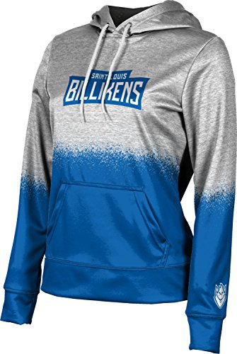 ProSphere Saint Louis University Women's Pullover Hoodie, School Spirit Sweatshirt (Spray Over) FEBC White and Blue - Louis Womens Sweatshirt