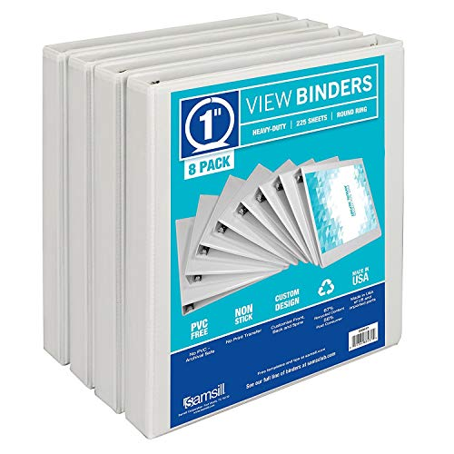 Samsill 3 Ring Durable View Binders - 8 Pack, 1 Inch Round Ring, Non-Stick Customizable Clear Cover, - 1 Ring Inch 3 Binder