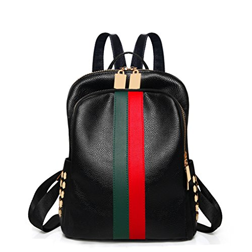 Mini Backpack Purse Leparvi Girly Leather Day Pack Teen Satchel Luxury Designer Handbag Women Tote Bag Ladies Work Rucksack(Red-green) Red Luxury Leather