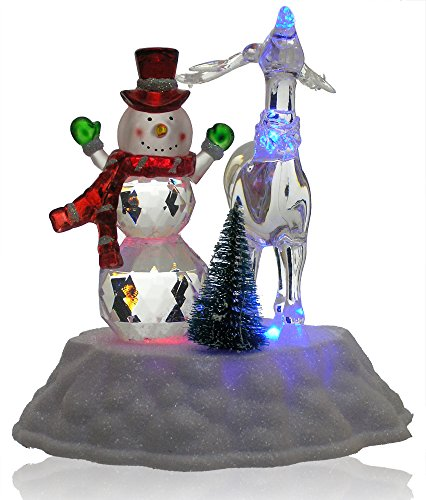 BANBERRY DESIGNS Snowman Christmas Decoration - LED Light Up Snowman and Reindeer Figurine Acrylic Holiday