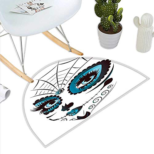 Skull Semicircular CushionGraphic of Cute Dead Skull Teen Girl Face with Make Up and Ornate Design Print Entry Door Mat H 31.5