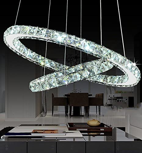 Modern Galaxy Round Rings Crystal Chandeliers LED Pendant Lights Ceiling Fixtures Adjustable Stainless Steel Cable Chandelier Lighting for Dining Room 15.7-23.6 Inches , Cool White