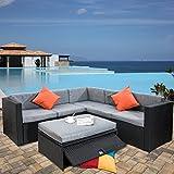 Merax 4 Piece Cushioned Outdoor Patio PE Rattan Furniture Set Sectional Garden Sofa (Black rattan + grey cushion)