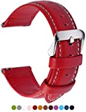 Fullmosa 12 Colors for Quick Release Leather Watch Strap, Axus Genuine Leather Watch Band 14mm 16mm 18mm 20mm 22mm 24mm, 16mm Red