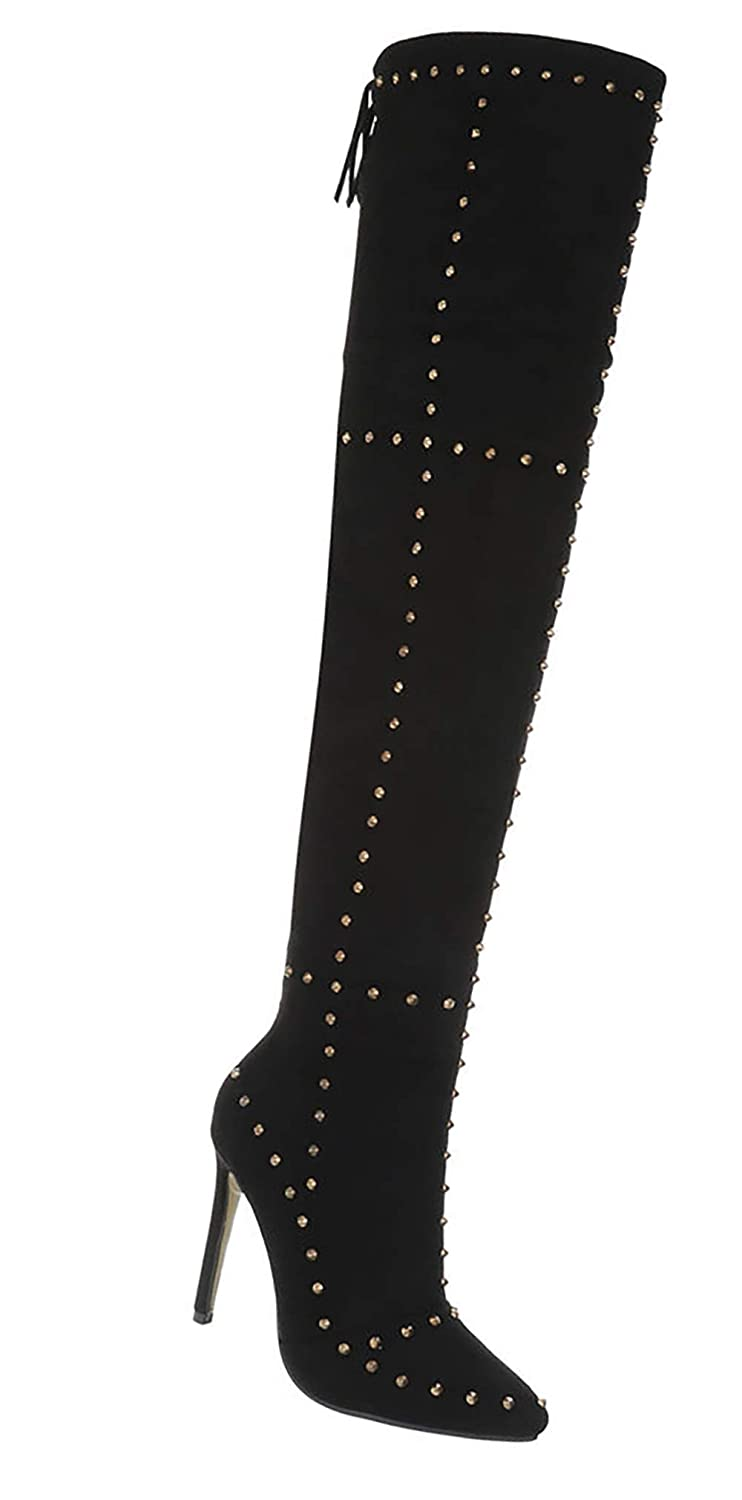 Schuhcity24 Damen Overknee Stiefel sexy Nieten Pailletten Stiletto Club Party Stiefel 35-41