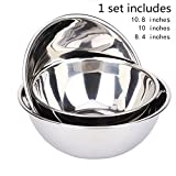 Shengyu Steel Polished Stainless Steel Flour Nestable Mixing Bowls, Whisking Vessels Tossing Bowl Set for Baking and Cooking (3 Pcs of Set) l whisking bowls nestabie bowls