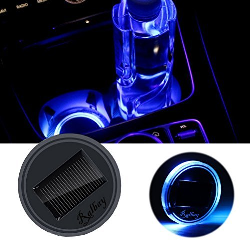 Ralbay Solar LED Cup Holder Lights Car Cup Holder Mat Pad Waterproof Bottle Drinks Coaster Built in Light and Vibration Sensor Car Interior Decoration Atmosphere Light (Blue,Pack of 1 ()