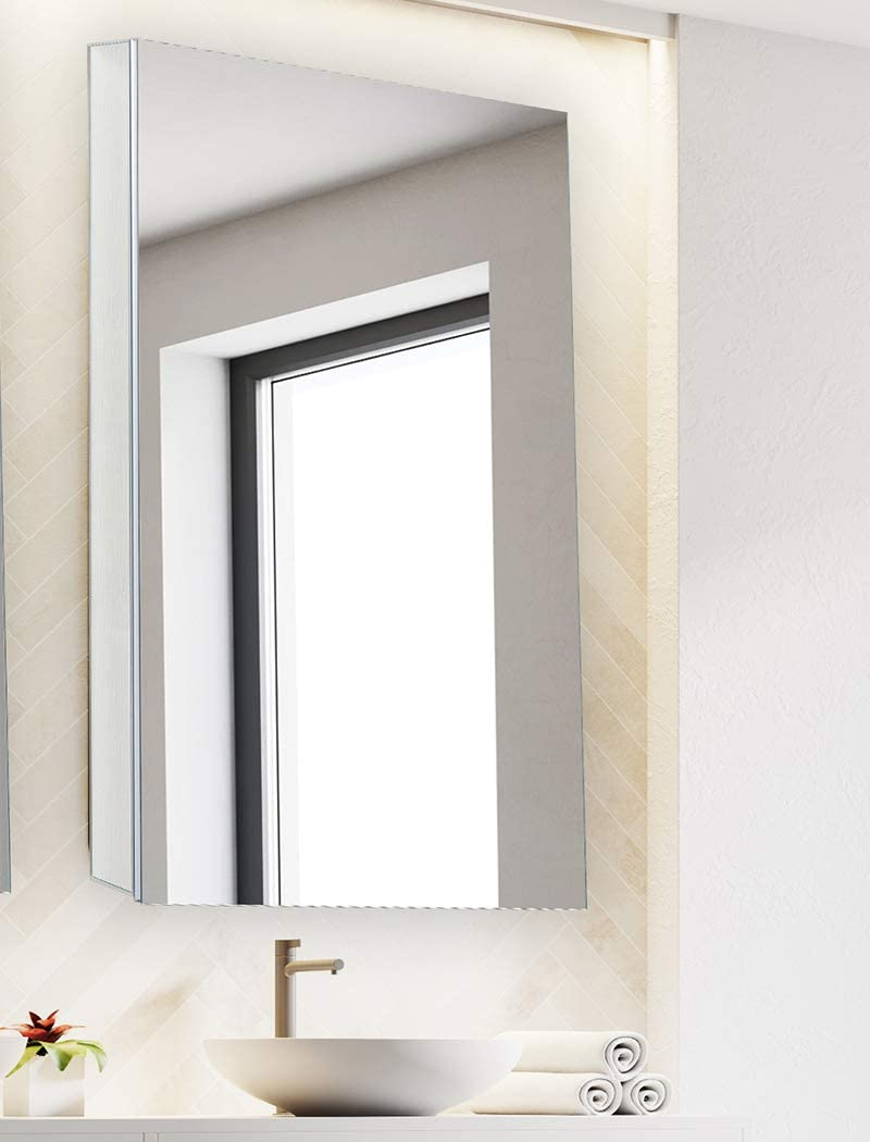 Bathroom Medicine Cabinet, Aluminum, Recessed Surface Mount, 24 x 40 , Right Left Hinged, Mirrored Interior
