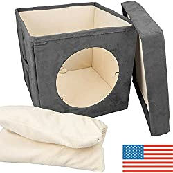 Original ZIGGY DEN Cat Hideout - Warm Kitten Bed Cat Hut with Pet Bed, Cat Houses for indoor cats- Connects To Cat Tunnel - Makes Great Cat Hideaway. Cat House Condo, Enclosed
