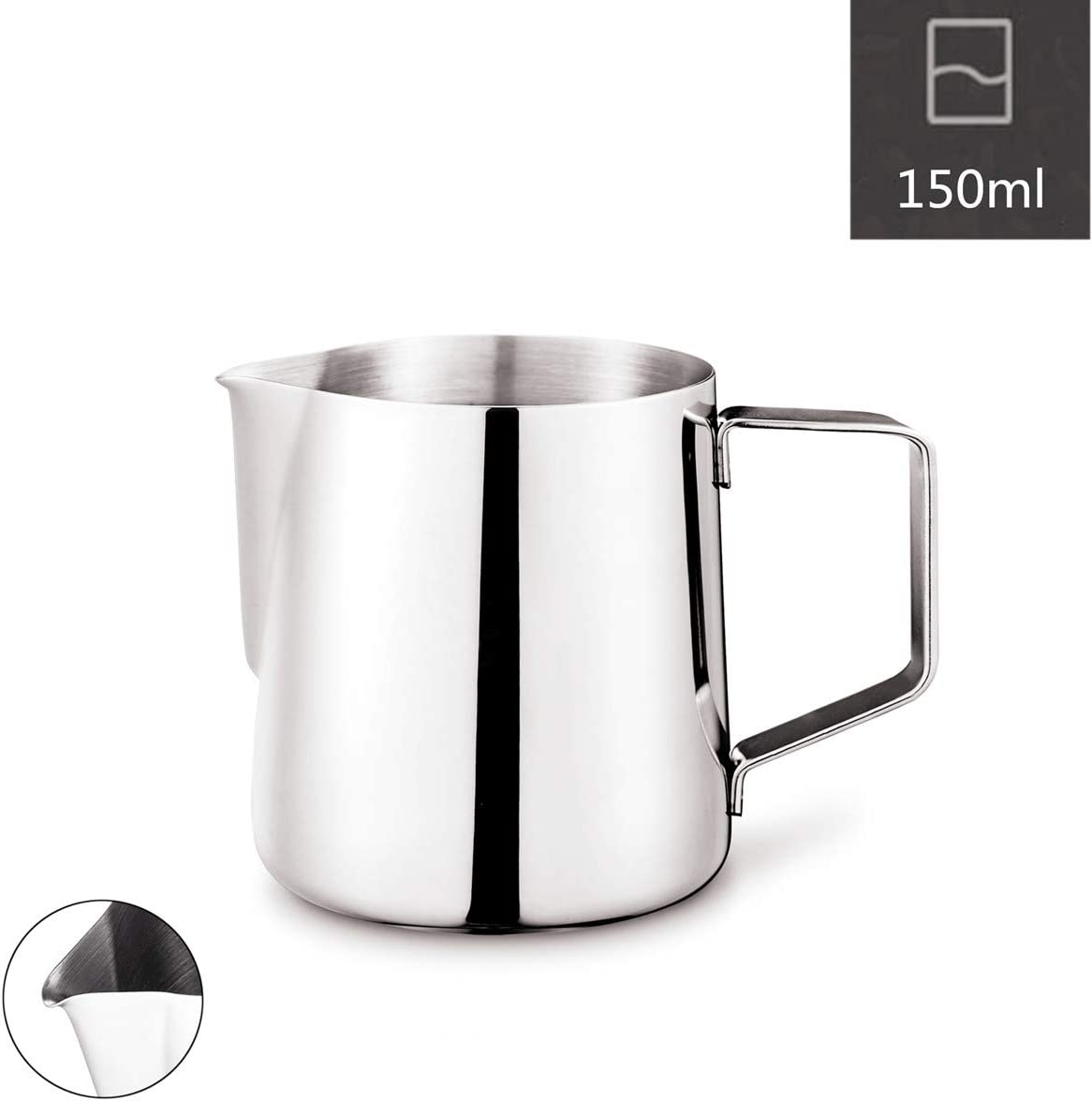 Milk Frothing Pitcher, Stainless Steel Latte Art Creamer Cup Silver 5 oz (150 ml) for Espresso Machines,Polished Finished