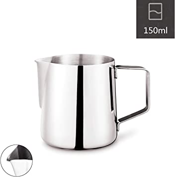 350 ml for Espresso Machines,Mirror Finished Milk Frothing Pitcher Stainless Steel Latte Art Creamer Cup Silver 12 oz