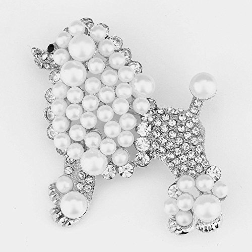 Sigma Gamma Rho Inspired Silver Toned Pretty Poodle Crystal Brooch - Pearl Poodle