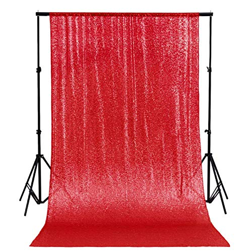 ShinyBeauty Sequin Backdrop 4FTx6FT-Red Backdrop Photography and Photo Booth Backdrop for Wedding/Party/Photography/Curtain/Birthday/Christmas/Prom/Other Event Decor - (48inx72in) (Red)