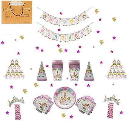 Amazon.com: Shimmer y confeti 12 invitados unicornio fiesta ...