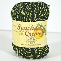 Spinrite Peaches & Creme (Cream) Cotton Yarn Twists Black with Lime 2 oz