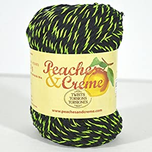 Spinrite Peaches & Creme (Cream) Cotton Yarn Twists Black with Lime 2 oz