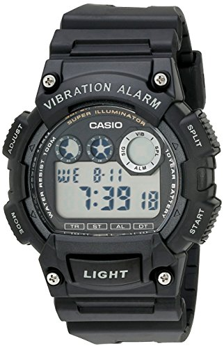 Casio Men's W735H-1AVCF Super Illuminator Watch With Black Resin Band (Alarm Casio Watch)