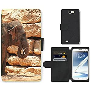 CARD POCKET BOOK CASE PU LEATHER CASE // M00104863 Elefante Elefantes Animales Mamíferos // Samsung Galaxy Note 2 II N7100