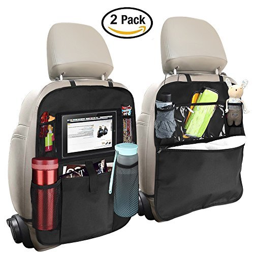 Back Seat Entertainment Organizer - OYRGCIK Backseat Organizer for Kids 2 Type (A+B) Kick Mats Back Seat Car Protector with Multi Pocket Storage Bag Holder for iPad Tablet Bottle Tissue Box Toys Vehicles Travel, Black 2 Pack