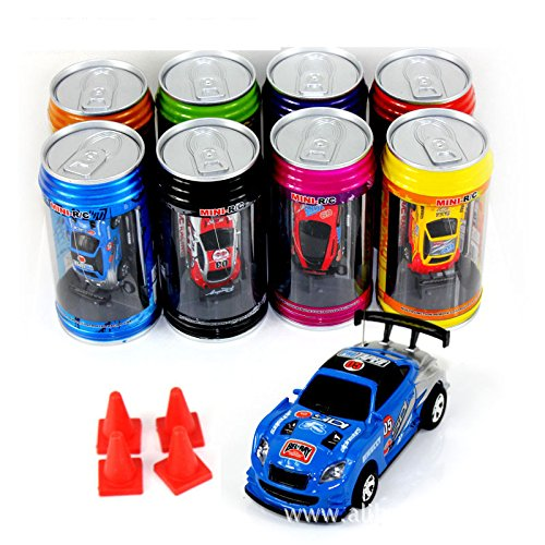 Bhbuy Multi color Coke Can Mini Speed RC Radio Remote Control Micro Racing Car Toy Gift (Pocket Racer)