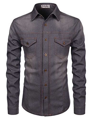 NEARKIN (NKNKTHS603) Medium Wash Long Sleeve Spandex Slim Cut Denim Shirts DARKGRAY US L(Tag size - Jeans L/s