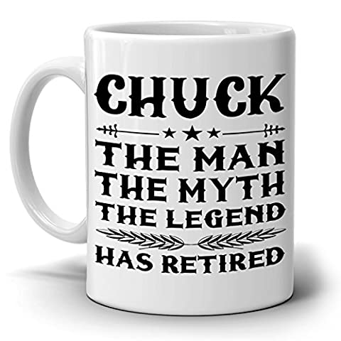 Personalized! The Man The Myth The Legend Has Retired Coffee Mug, Funny Humor Retirement Gag Gifts for Coworkers, Men and Dad, Printed on Both - Breakfast Gift Bucket